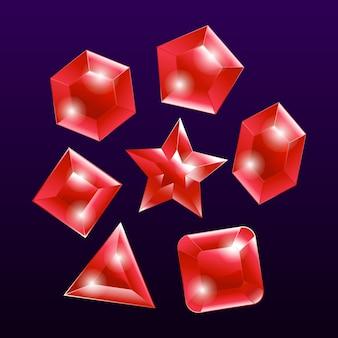 Conjunto de elementos emblema pedra preciosa pedra vermelha