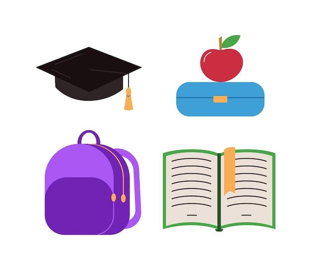 Conjunto de elementos escolares coloridos de vetor equipamento isolado para coleta de educação em branco