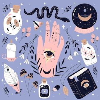 Conjunto de elementos esotéricos de mão desenhada