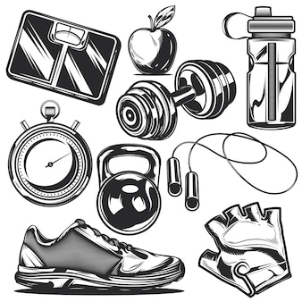 Conjunto de elementos esportivos para criar seus próprios emblemas, logotipos, etiquetas, pôsteres, etc.