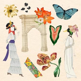 Conjunto de elementos estéticos de colagem vintage, ilustração vetorial colagem arte de mídia mista