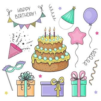 Conjunto de elementos festivos de mão desenhada. feliz aniversário. bolo, bandeiras, máscara, balão, caixa de presente. esboço. ilustração vetorial.