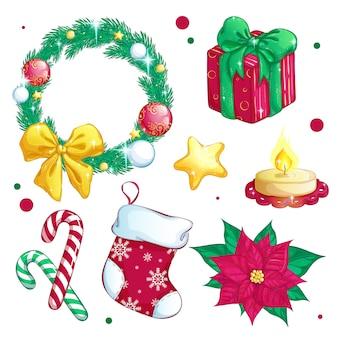 Conjunto de elementos festivos de natal.