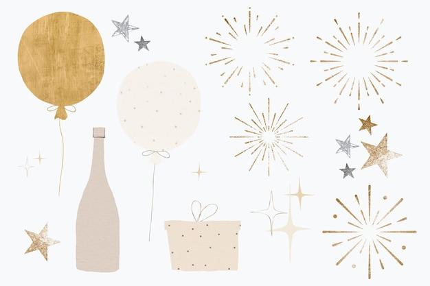 Conjunto de elementos festivos de ouro de luxo