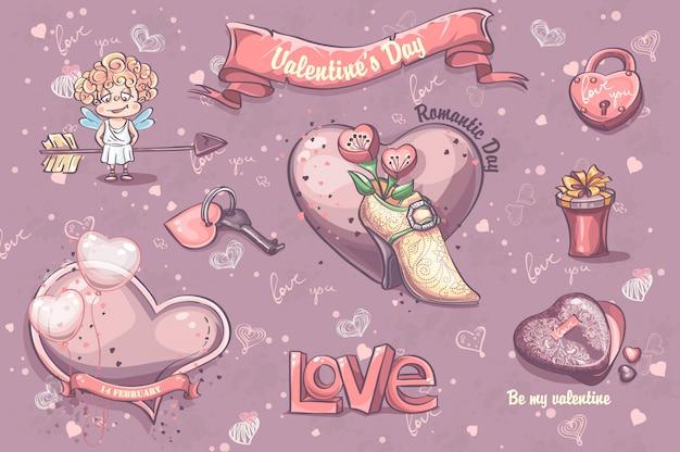 Conjunto de elementos festivos e ilustrações para o dia dos namorados