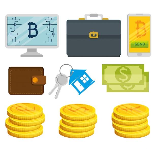 Conjunto de elementos financeiros