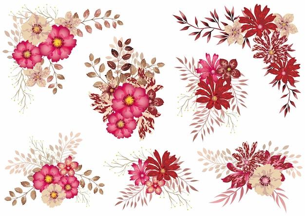 Conjunto de elementos florais aquarela vermelhos isolados em um branco