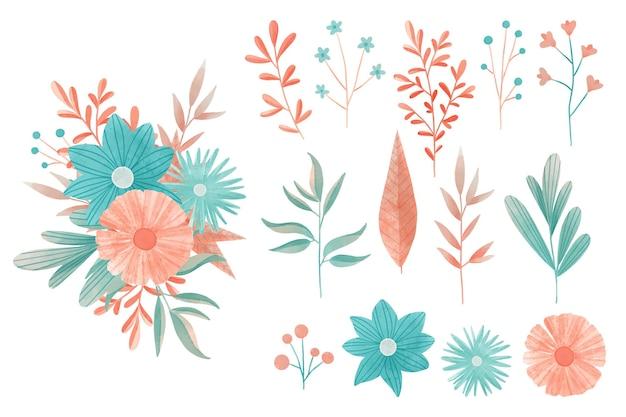 Conjunto de elementos florais coloridos em aquarela