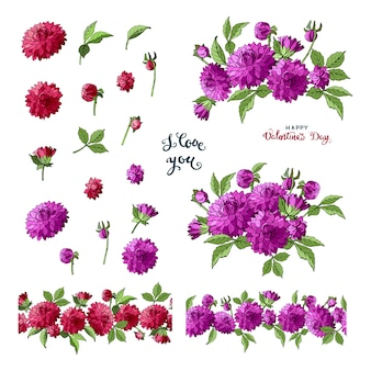 Conjunto de elementos florais dália multicolorida