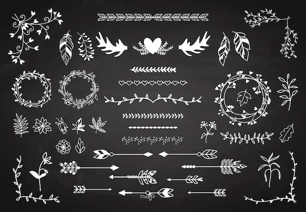 Conjunto de elementos florais de boho.
