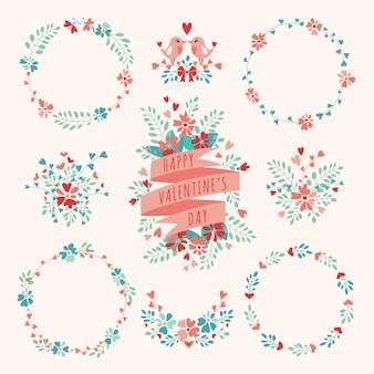 Conjunto de elementos florais de dia dos namorados.