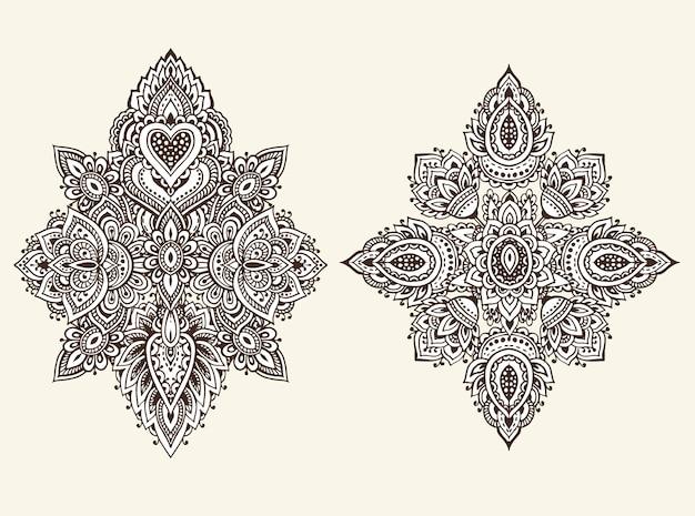 Conjunto de elementos florais de henna com base em ornamentos asiáticos tradicionais.