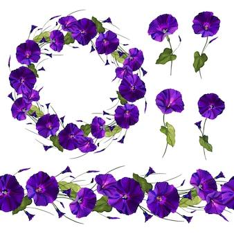Conjunto de elementos florais de ipomeia de flores roxas.