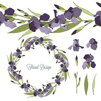 Conjunto de elementos florais de íris isolado