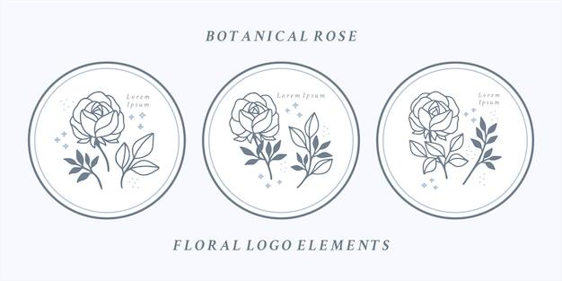 Conjunto de elementos florais de rosas botânicas desenhados à mão para logotipo feminino ou marca de beleza