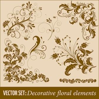 Conjunto de elementos florais decorativos desenhados a mão para design. elemento de decoração da página.