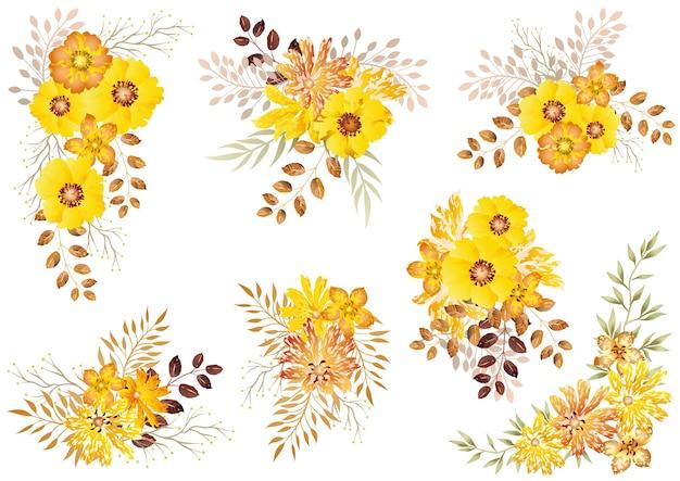 Conjunto de elementos florais em aquarela amarelos isolados em um branco
