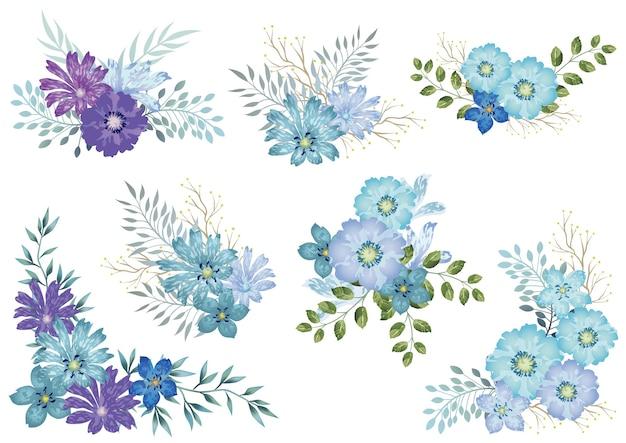 Conjunto de elementos florais em aquarela azuis isolados em um branco