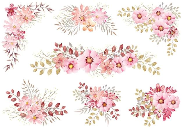 Conjunto de elementos florais em aquarela rosa isolados em um branco