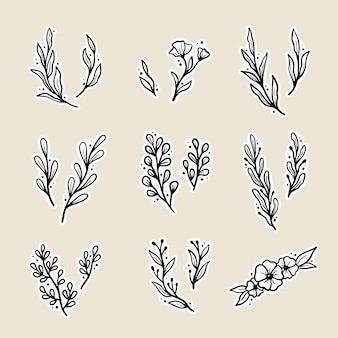 Conjunto de elementos florais, flores, folhas, grinaldas. esboço desenhado à mão
