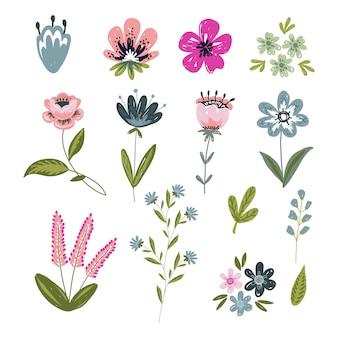 Conjunto de elementos florais isolados com flores de mão desenhada.