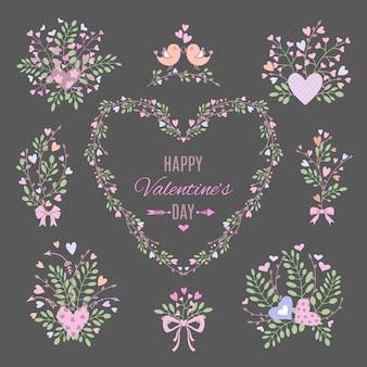 Conjunto de elementos florais para o seu dia dos namorados