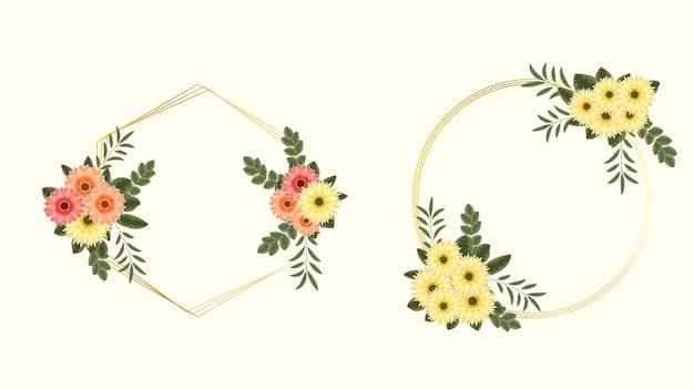 Conjunto de elementos florais premium de luxo dourado e quadros de flores em estilo detalhado