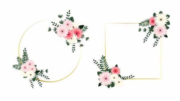 Conjunto de elementos florais vetoriais e quadros de flores detalhados para promoções de anúncios de vendas de mídia social