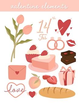 Conjunto de elementos fofo do dia dos namorados