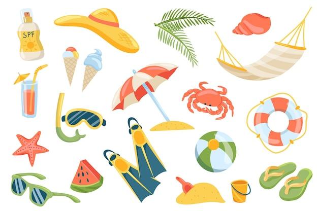 Conjunto de elementos fofos das férias de verão