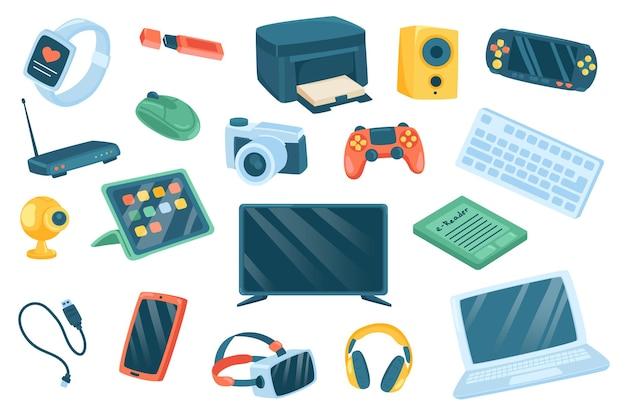 Conjunto de elementos fofos de dispositivos