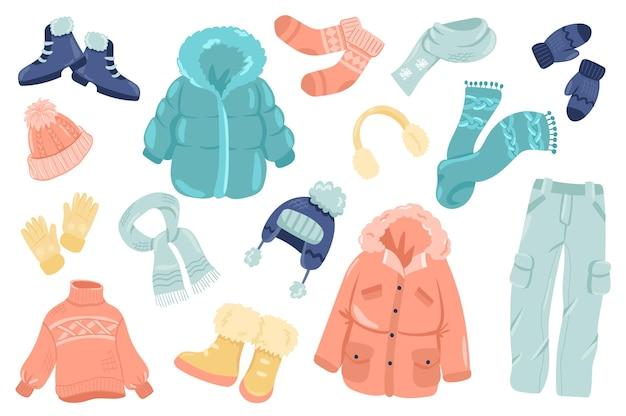 Conjunto de elementos fofos de roupas de inverno