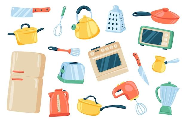 Conjunto de elementos fofos de utensílios de cozinha