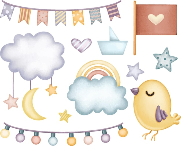 Conjunto de elementos fofos em tons suaves de azul pastel para bandeiras de nuvens de arco-íris de crianças