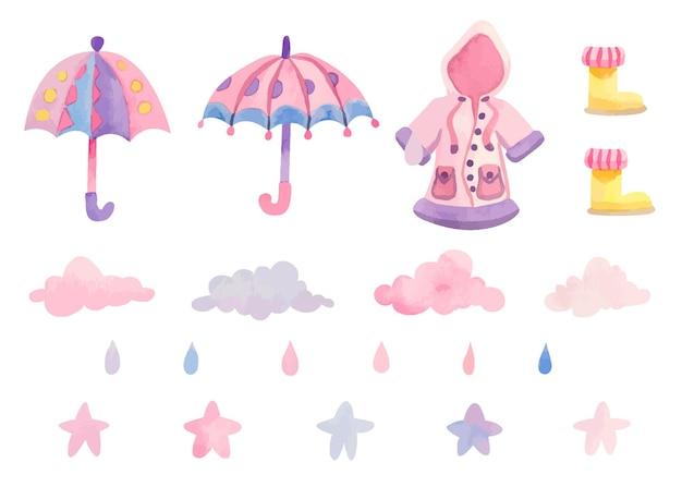 Conjunto de elementos fofos para dias chuvosos