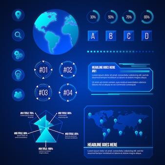 Conjunto de elementos futurista infográfico