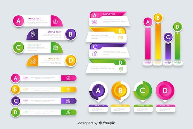 Conjunto de elementos gradiente infográfico