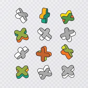 Conjunto de elementos gráficos 3d coloridos no estilo pop art, vetor eps 10