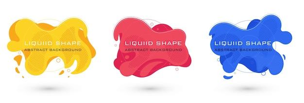 Conjunto de elementos gráficos abstratos de forma líquida. design fluido colorido. bandeira