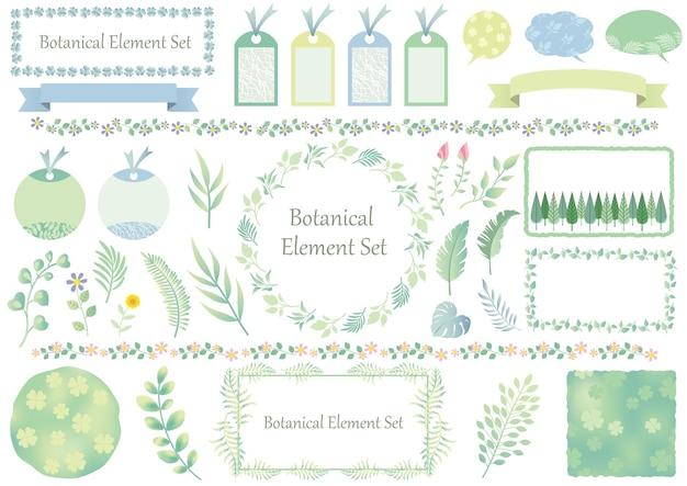 Conjunto de elementos gráficos botânicos e molduras isoladas em um branco