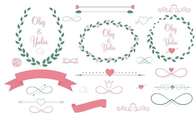 Conjunto de elementos gráficos de casamento com ilustração vetorial de setas, corações, louros, fitas e etiquetas
