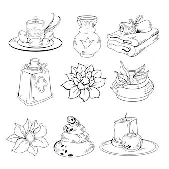 Conjunto de elementos gráficos desenhados à mão para spa
