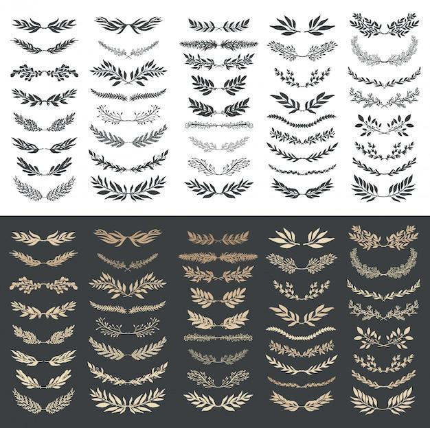 Conjunto de elementos gráficos florais de casamento, divisores, louro. convite decorativo.