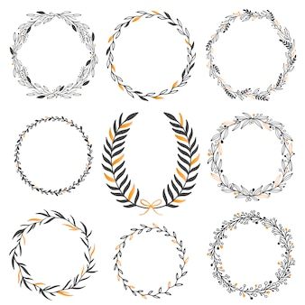 Conjunto de elementos gráficos florais de casamento