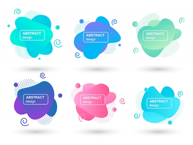 Conjunto de elementos gráficos modernos de formas líquidas abstratas