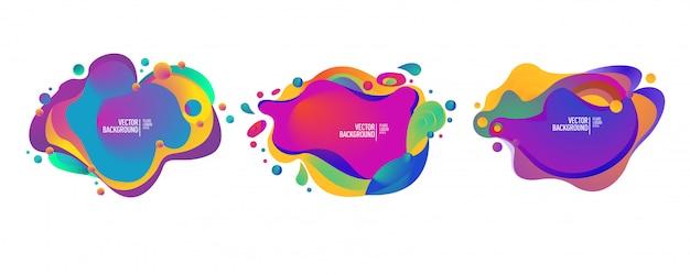 Conjunto de elementos gráficos modernos fluidos abstratos