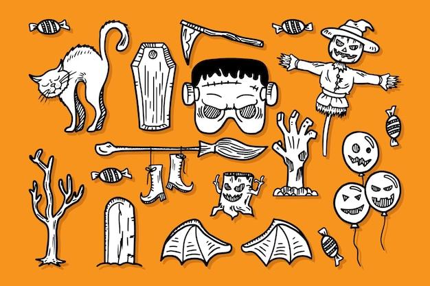 Conjunto de elementos halloween doodle