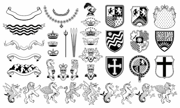 Conjunto de elementos heráldicos. conjunto de animais heráldicos.