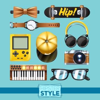 Conjunto de elementos hipster com teclado de relógio de pulso de óculos isolado