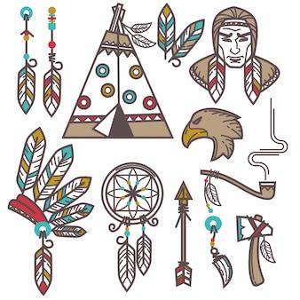Conjunto de elementos indianos americanos ocidentais selvagens.